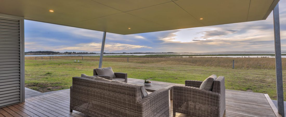 Clayton bay bespoke custom built home. Outdoors deck and lounge with amazing view.