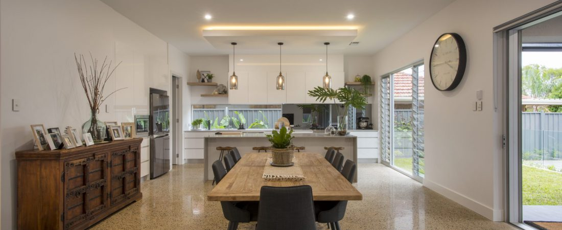 Custom built bespoke home in Kensington Adelaide. Interior dining area.