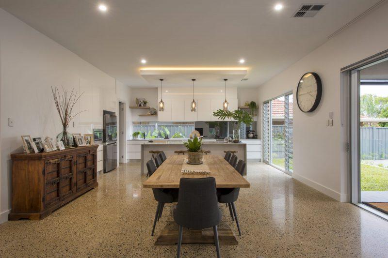 Custom built bespoke home in Kensington Adelaide. Interior dining area.