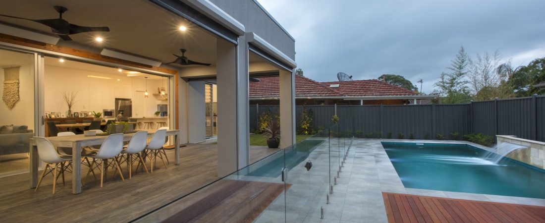 Custom built home in Adelaide. Bespoke outdoor area with pool and decking.