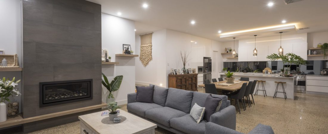 Custom built bespoke home in Kensington, Adelaide. Featuring interior living area and kitchen.